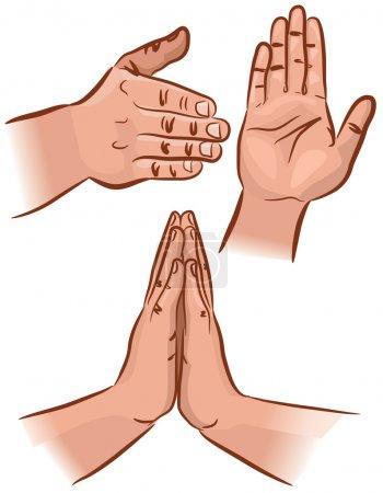 Illustration pour Ensemble de gestes de la main sous différents angles. SPE 8 . - image libre de droit