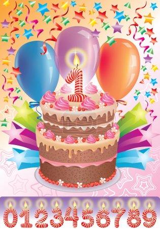 Illustration pour Gâteau d'anniversaire avec l'âge du numéro. Ensembles de nombres de 0 à 9 attachés.Contient des objets transparents et flous. Eps 10 - image libre de droit