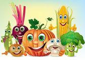 Cartoon fun company of vegetables