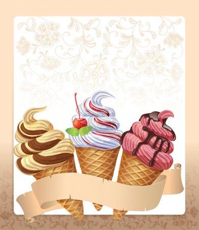 Illustration pour Menu de crème glacée. Contient des objets transparents. PSE10 - image libre de droit