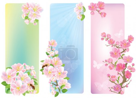 Illustration for Vertical banners with a blossoming branch. Contains transparent objects. EPS10 - Royalty Free Image