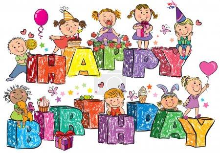 Photo pour Joyeux anniversaire enfants sur letters.Contient des objets transparents. PSE10 - image libre de droit