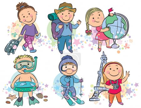 Photo pour Des enfants qui voyagent. Contient des objets transparents. PSE10 - image libre de droit