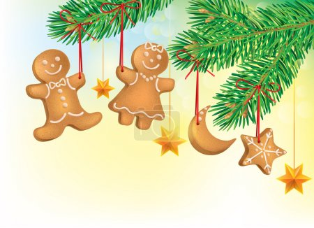 Illustration for Christmas tree decorated with Christmas cookies. Contains transparent objects. EPS10 - Royalty Free Image