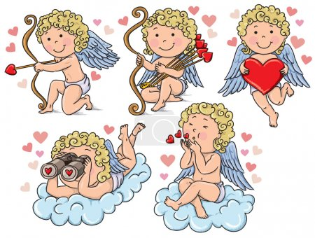 Illustration pour Les enfants Cupidons. Contient des objets transparents. PSE10 - image libre de droit