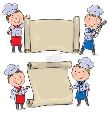 Illustration pour Deux enfants drôles cuisinent avec un rouleau de bannière. Contient des objets transparents. PSE10 - image libre de droit