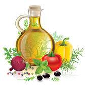 Постер Оливковое масло и овощи