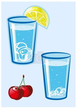Illustration pour Verre d'eau au citron et cerise. Illustration vectorielle . - image libre de droit