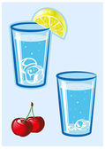 Glass of water with lemon and cherry