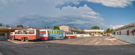 Panoramic view to Cienfuegos bus station with buses