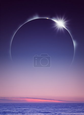 Photo for Full Eclipse seen over the ocean (digital art) - Royalty Free Image