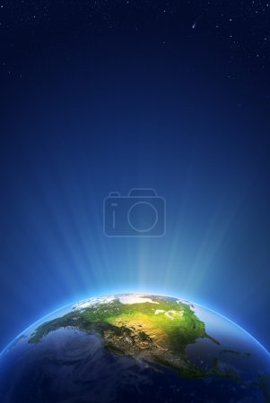 Photo pour Earth Radiant Light Series - North America (Elements of this image furnished by NASA- earthmap http://visibleearth.nasa.gov) - image libre de droit