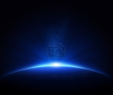 Photo for Earth - sunrise in deep blue space - Royalty Free Image