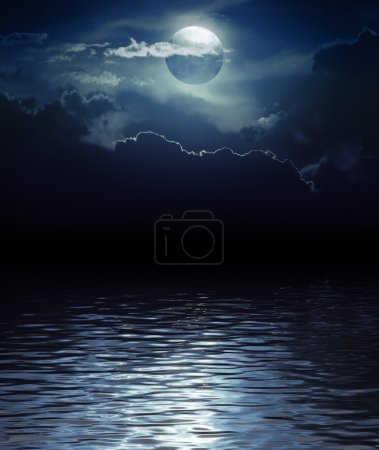 Photo for Fantasy Moon and Clouds over water (Elements of this image furnished by NASA) - Royalty Free Image