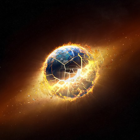 Photo for Planet earth explode with burning flames (Elements of this 3d image furnished by NASA) - Royalty Free Image