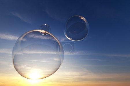 Soap bubbles in the sky with sunset