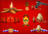 Vector set of military objects related to 23 February and Victory Day