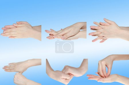 Photo for Professional medical hand washing gesture isolated on white - Royalty Free Image
