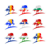 European flags in the form of horses 2014
