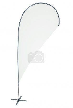 Photo for Blank teardrop/flying banner isolated on white background. 3D render - Royalty Free Image