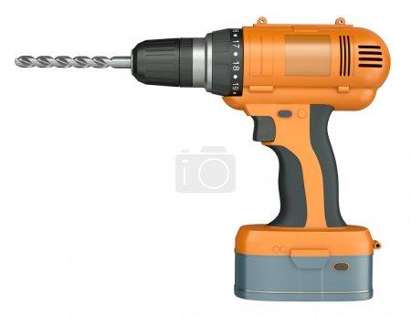 Orange cordless drill