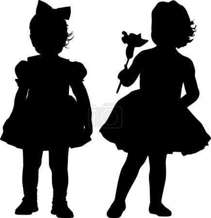 Illustration pour Silhouettes de deux petites filles - image libre de droit