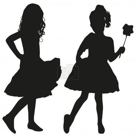 Silhouettes of two girls...