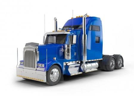 Photo pour Camion bleu américain isolé sur fond blanc - image libre de droit