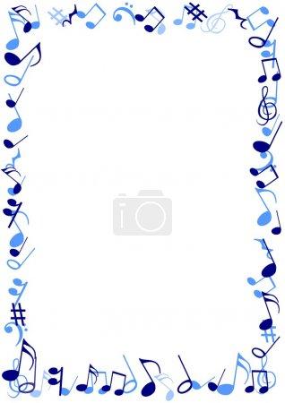 Photo pour Illustration d'un bâti fait de notes de musique bleus - image libre de droit