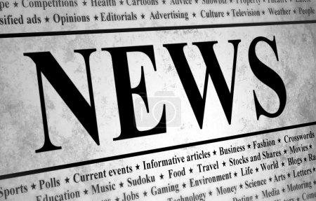 Photo for Illustrated of a newspaper with news related text - Royalty Free Image
