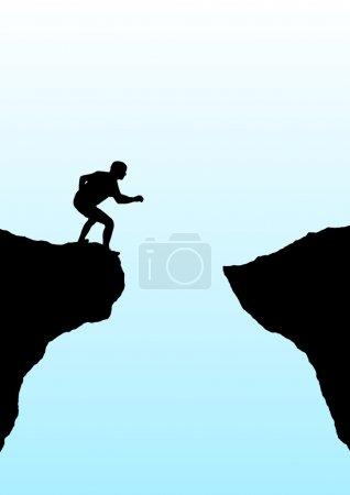 Photo pour Illustration d'une personne s'apprête à sauter une gorge - image libre de droit