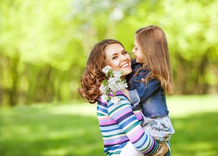 Photo for Mother and daughter in park. Mother Day. - Royalty Free Image