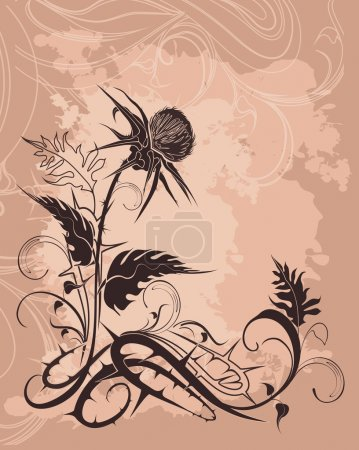 Vintage background with thistle