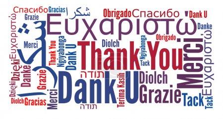 Photo pour Merci phrase dans différentes langues. Nuage de mots. Diversité et concept culturel . - image libre de droit