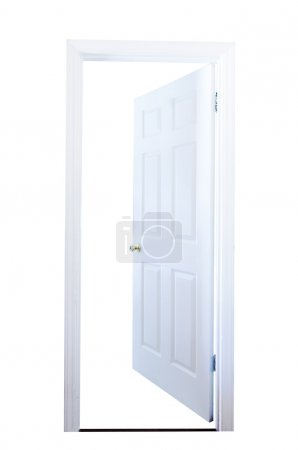 Photo for Open door isolated on white background with clipping path. - Royalty Free Image