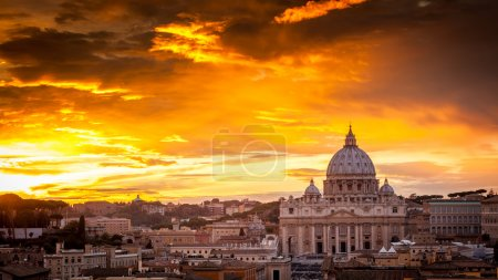 Basilica of St. Peter at sunset with the Vatican in the backgrou