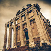 Vintage Faustina in the Roman Forum in Rome, Italy, converted to
