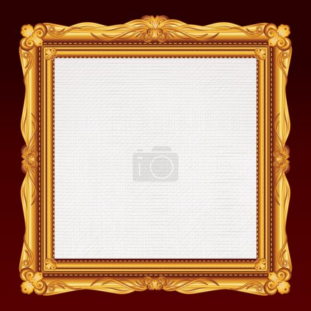 Photo pour Cadre en or antique avec toile vierge. Illustration - image libre de droit