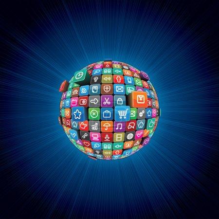 Photo pour Abstrait avec sphère multimédia des icônes multicolores apps. - image libre de droit