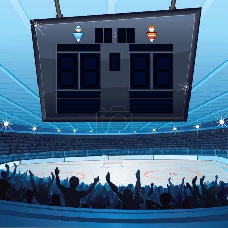 Photo pour Stade de hockey. fond avec tableau de bord vide pour votre texte - image libre de droit