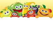 Постер Мультфильм фрукты и ягоды с