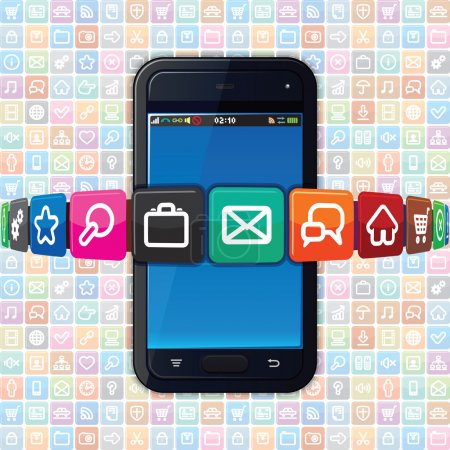 Smart Phone with Internet Icons. Technology Theme