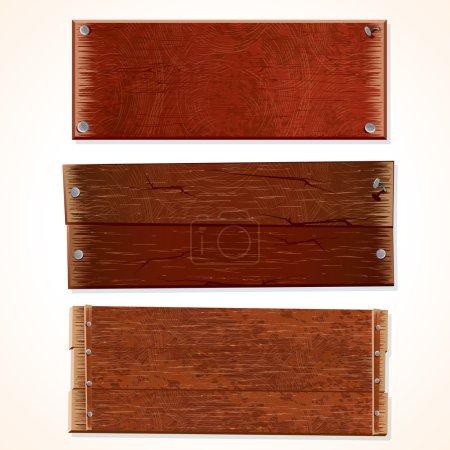 Photo pour Illustration des panneaux en bois et cartons - image libre de droit