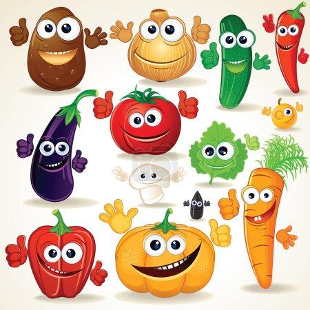 Photo pour Drôle de divers dessin animé légumes. clipart - image libre de droit