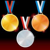 Abstract Golden Silver Bronze Medals Vector Set