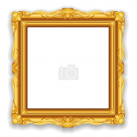 Photo for Gold Vintage Frame. Decorative Vector Frame with Place for Text, Picture or Design - Royalty Free Image