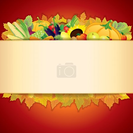Illustration for Thanksgiving Celebration illustration. Banner with Vegetable Crop, Maple Leaf and Space for Text - Royalty Free Image