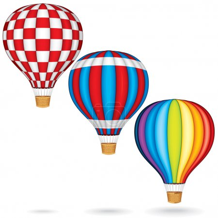 Illustration for Hot Air Balloons. Colorful Vector Illustration isolated on white Background - Royalty Free Image