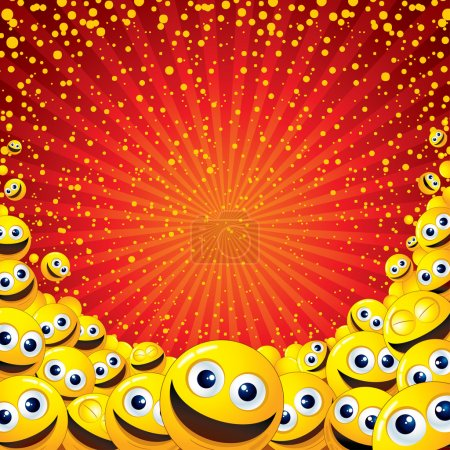 Illustration for Joyful Smiley Background. Vector Image with free space for text - Royalty Free Image