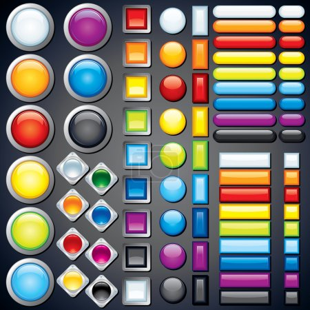 Illustration for Large collection of shiny colorful bars, buttons, knobs, keys, Vector without transparencies, meshes - Royalty Free Image